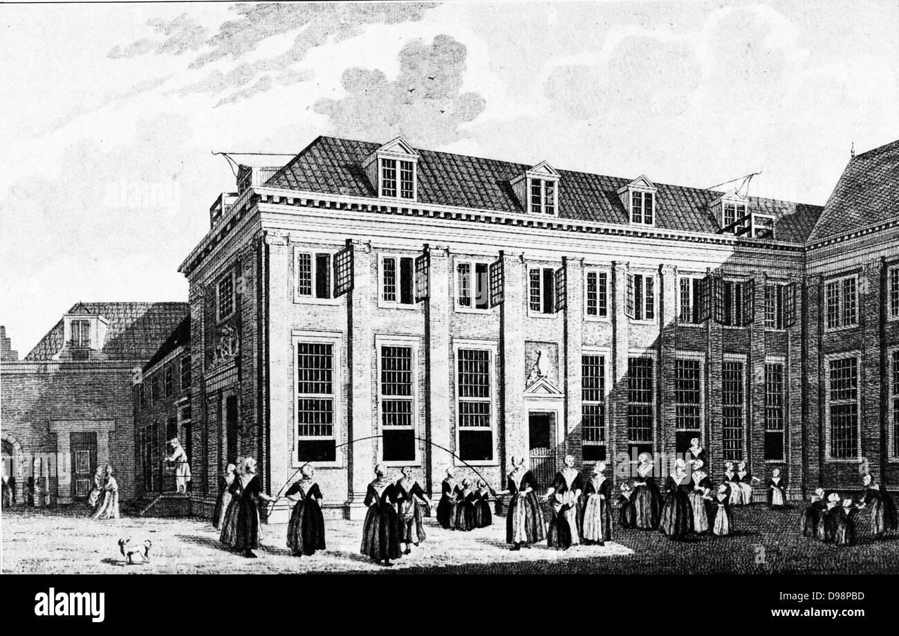 Burher orphanage for girls in Amsterdam circa 1750 - Stock Image