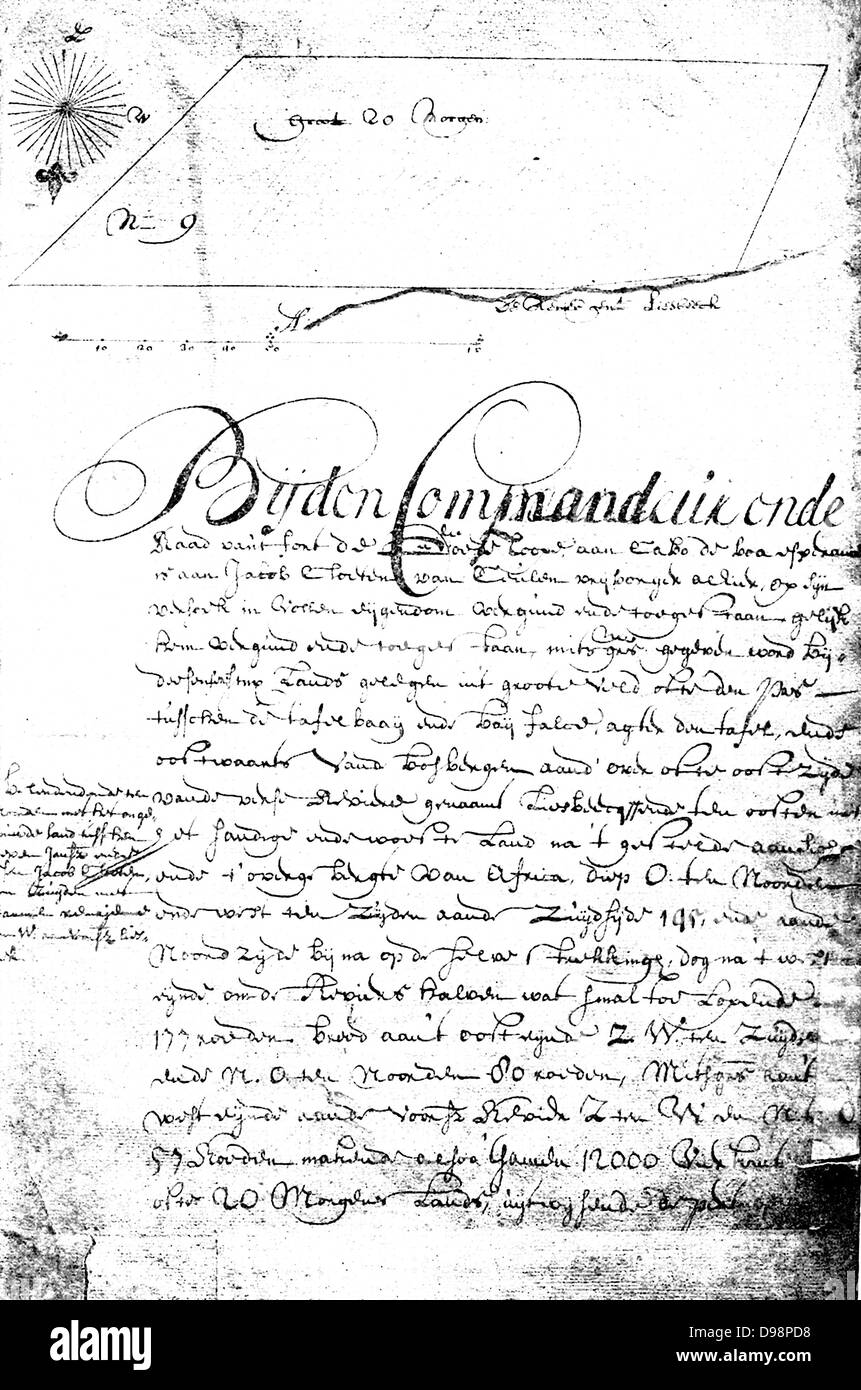 Reduced facsimile of a Grant of Land.  An area of 20 morgen situated near the Liesbeek, between Table bay and False - Stock Image