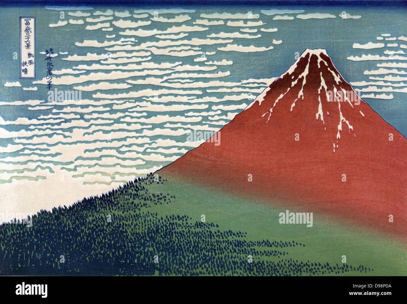 Mount Fuji in a Clear Dawn. From 'Thirty-six Views of Mount Fuji', c1831. Katsushika Hokusai (1760-1849) - Stock Image