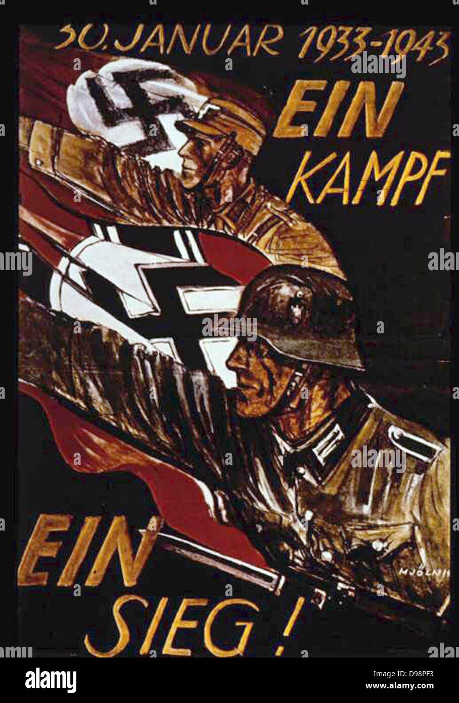 World War II: German poster marking 10th anniversary of Nazi siezure of power in 1933. German soldiers withh swastika - Stock Image