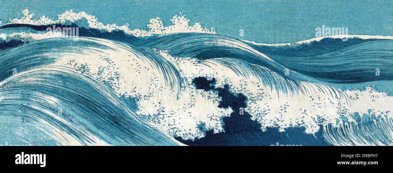 Ocean Waves: 1900-1920. Konen Uehera (1878-1940) Japanese artist. Seascape of waves breaking with white horses. - Stock Image