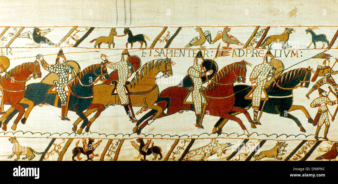 Battle of Hastings, 14 October 1066. Norman cavalry charging. William I,  the Conqueror, defeated Harold