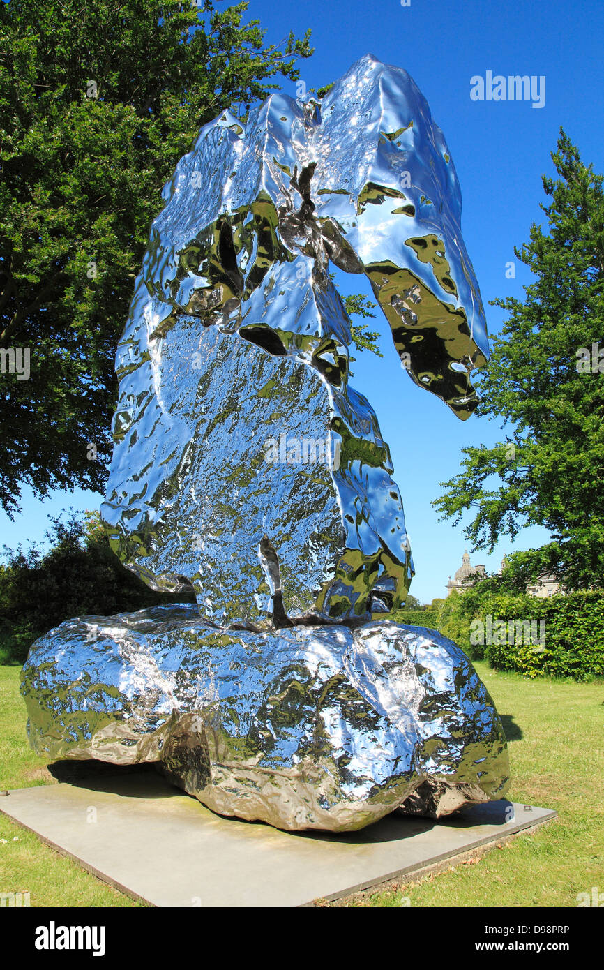'Scholar Rock' sculpture, Zhan Wang, at Houghton Hall, Norfolk, England UK stainless steel sculpture, 1962, abstract Stock Photo