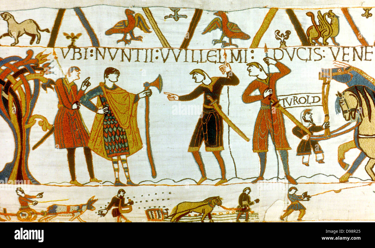 Bayeux Tapestry 1067: In 1064 messengers from William of Normandy demand of Count Guy the release of Earl Harold - Stock Image