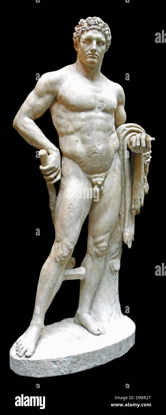 Marble statue of a youthful Hercules. Roman A.D. 68–98 Stock Photo
