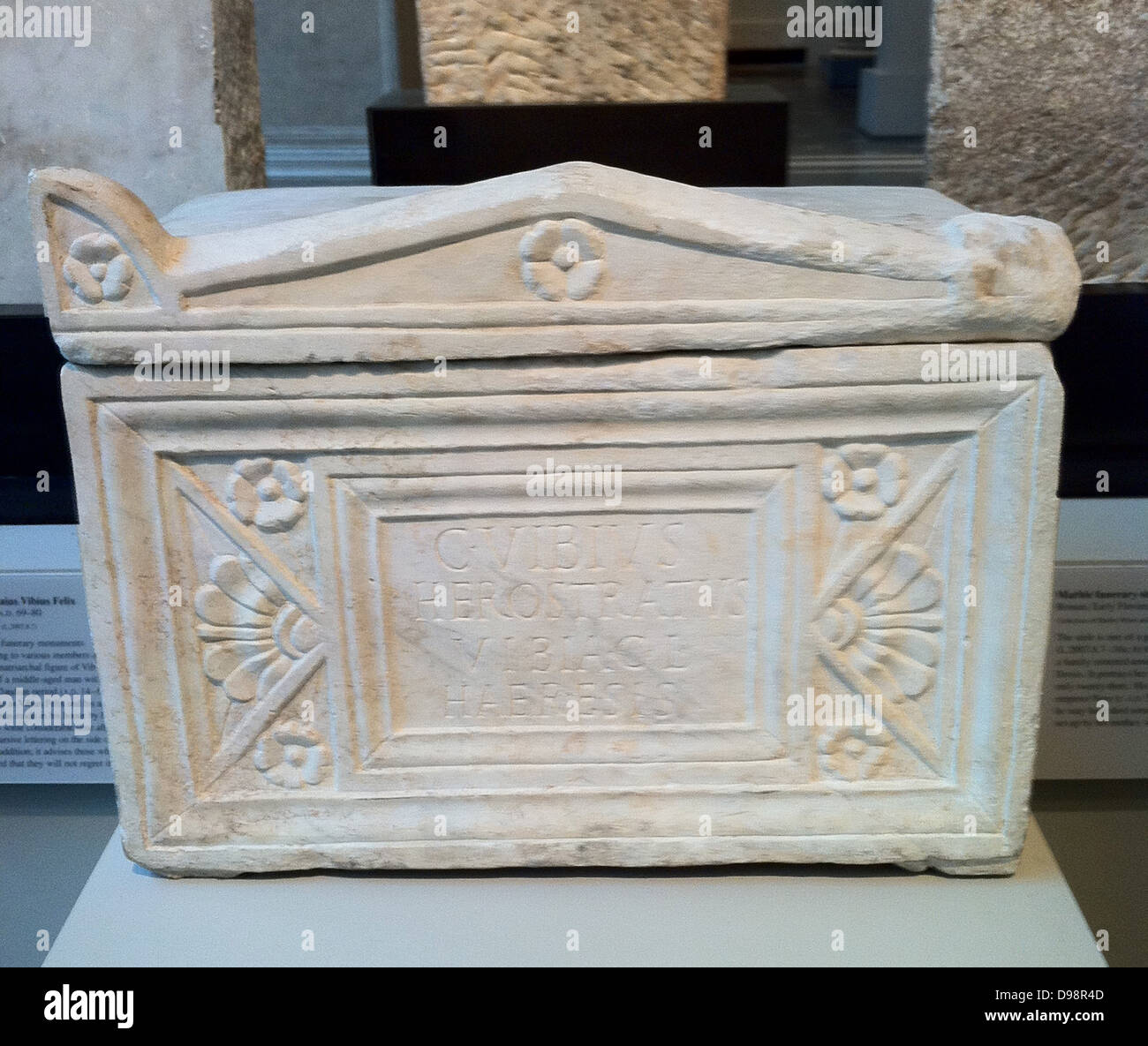 Marble Roman cinerary chest. Roman AD 69-80 AD - Stock Image