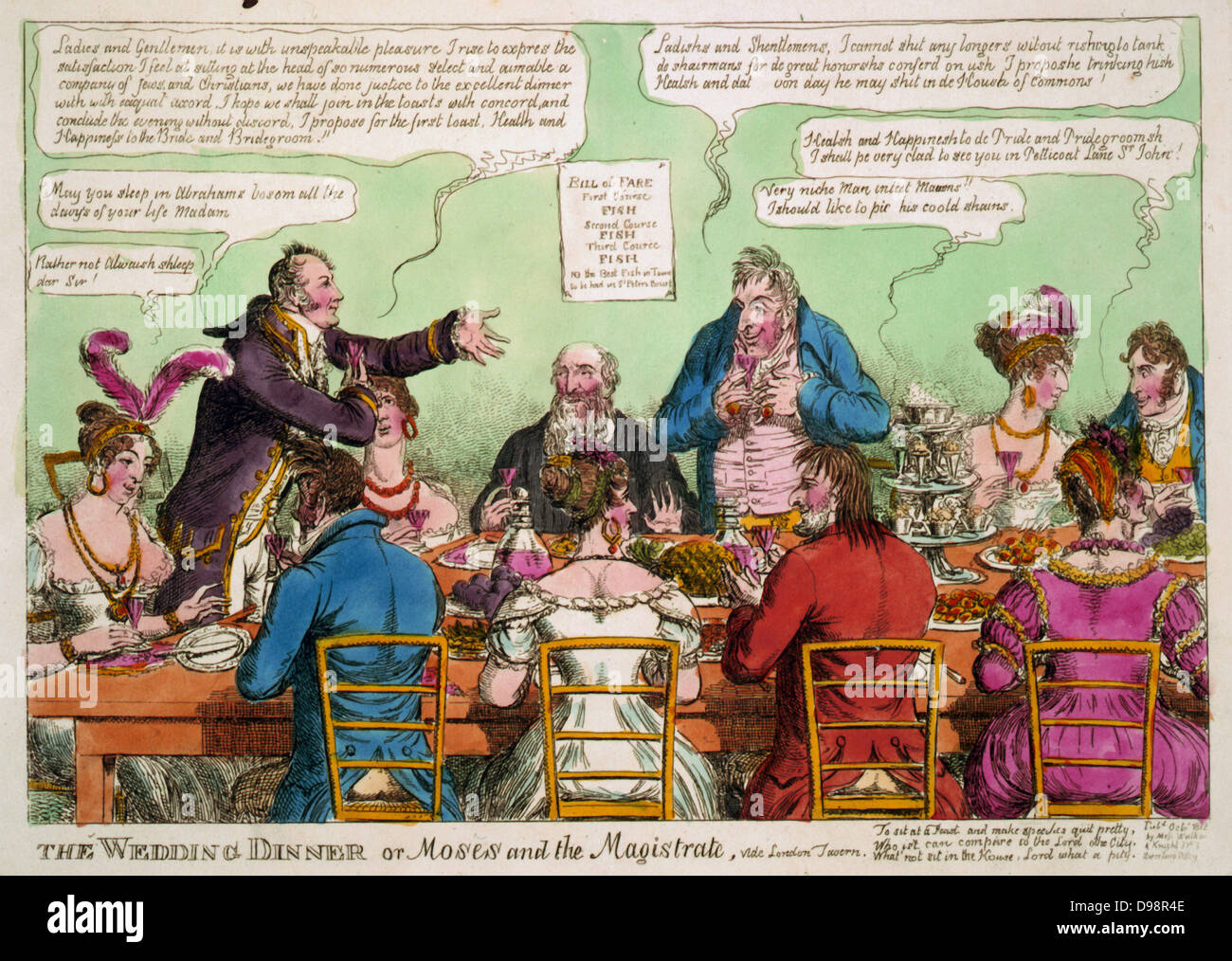 The Wedding Dinner: Lord Mayor of London at wedding breakfast at London Tavern of Moses Abrahams and Elizabeth, - Stock Image