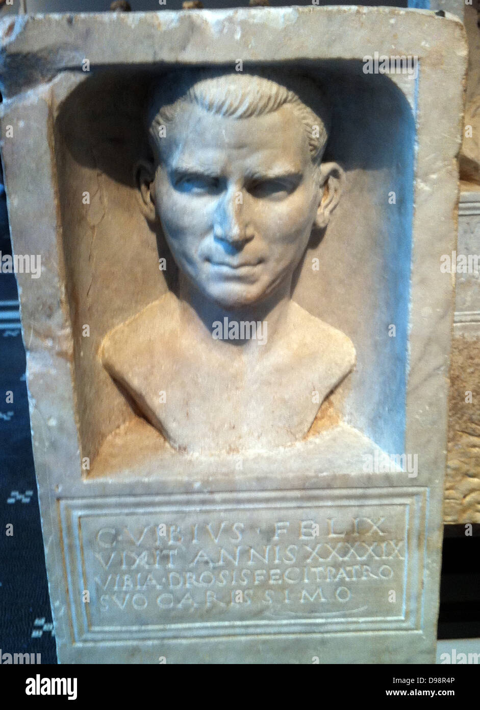 Roman funeral stele with a portrait of Gaius Felix. 69-80 AD - Stock Image