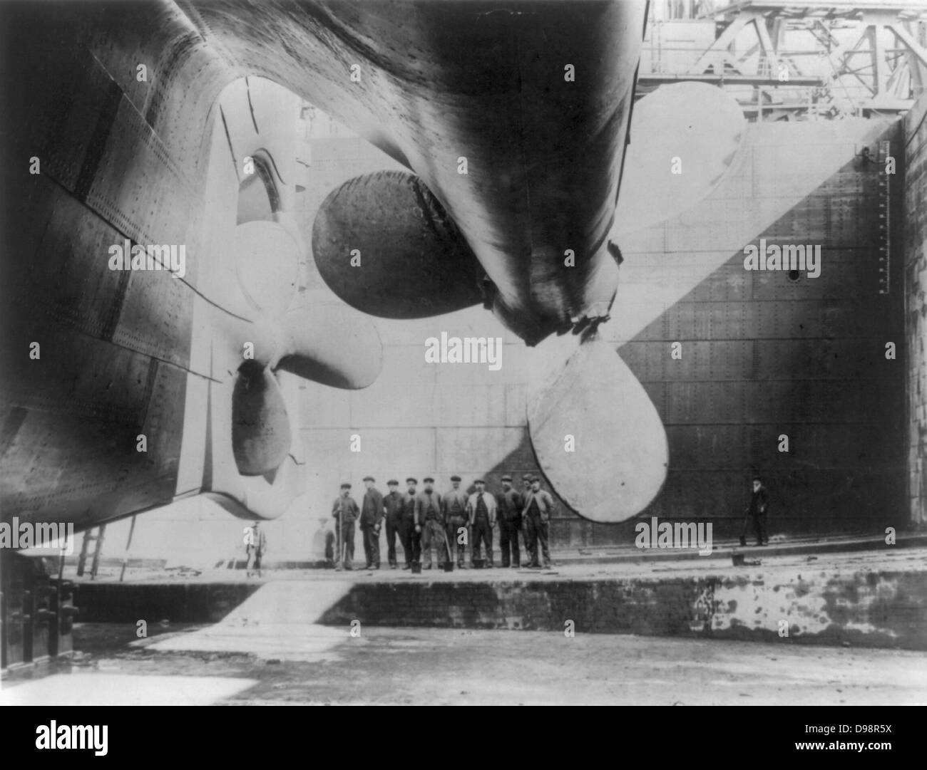 RMS Titanic, White Star Line's Olympic-class in Harland and Wolff's shipyard, Belfast, Ireland , shortly - Stock Image