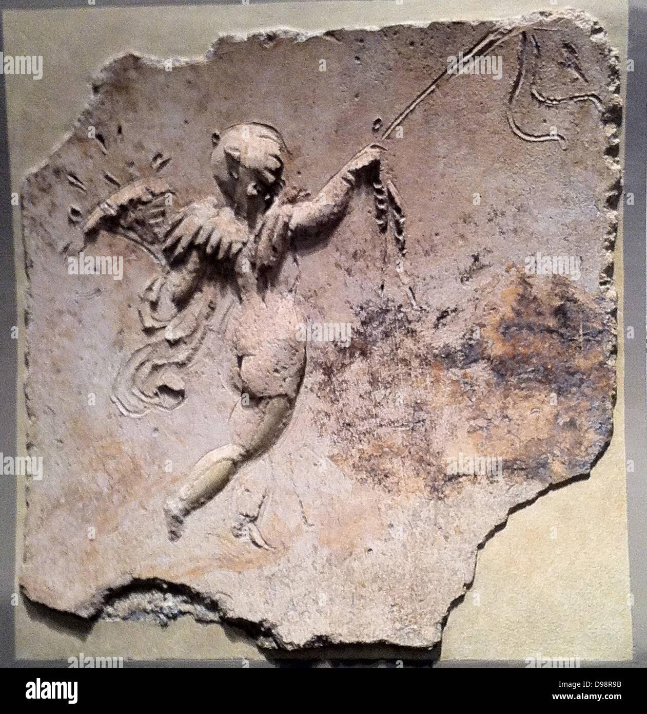 Stucco relief (Roman) depicting Eros. 1st Century AD - Stock Image