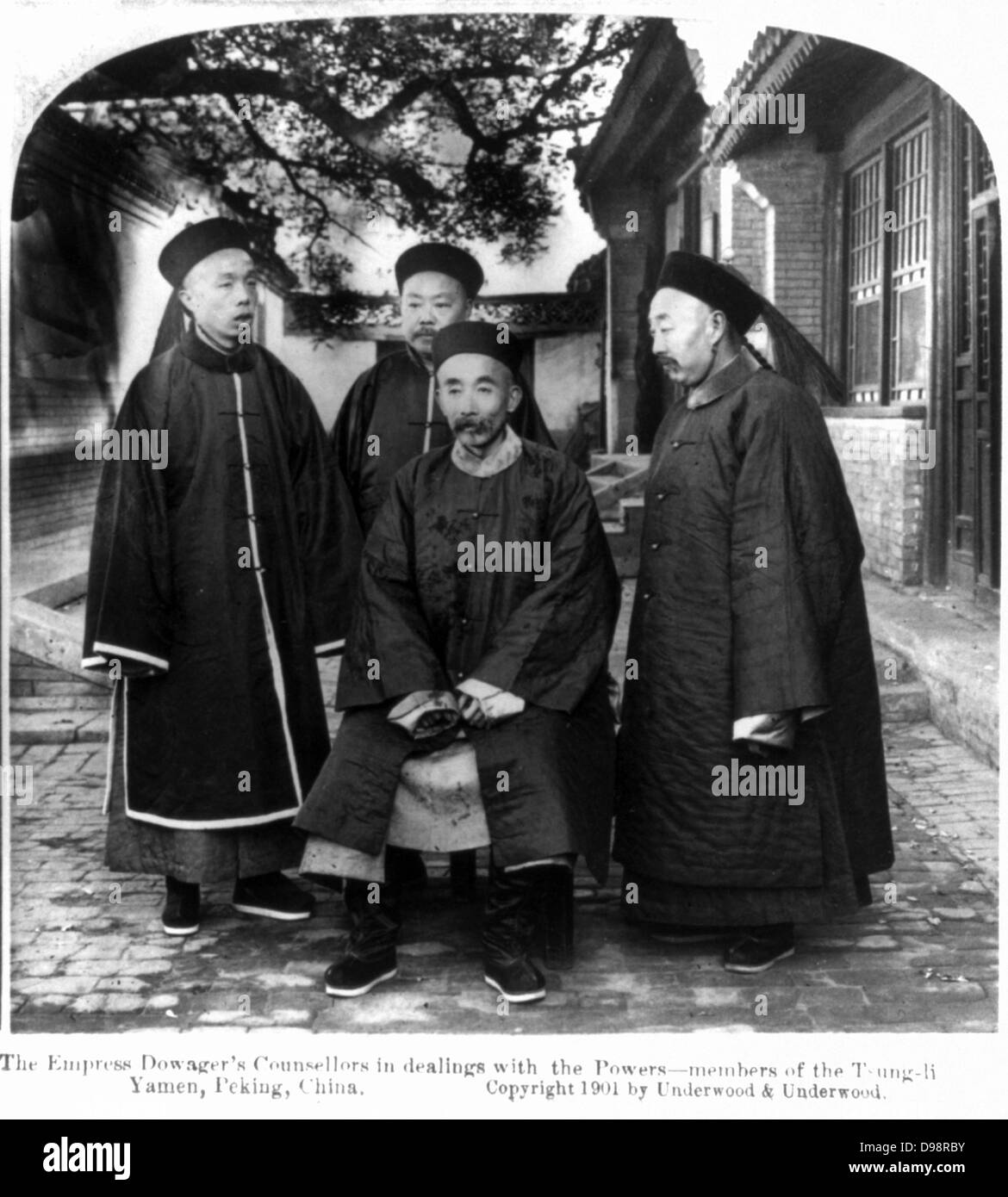 Four Counsellors of the Dowager Empress Cixi (Xiao Qin Cian 1831-1908) who from 1861 was for nearly 40 years the - Stock Image