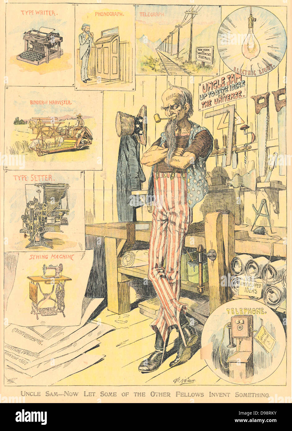 Uncle Sam--Now Let Some of the Other Fellows Invent Something by Charles Nelan, New York Herald, January 9, 1898. Stock Photo
