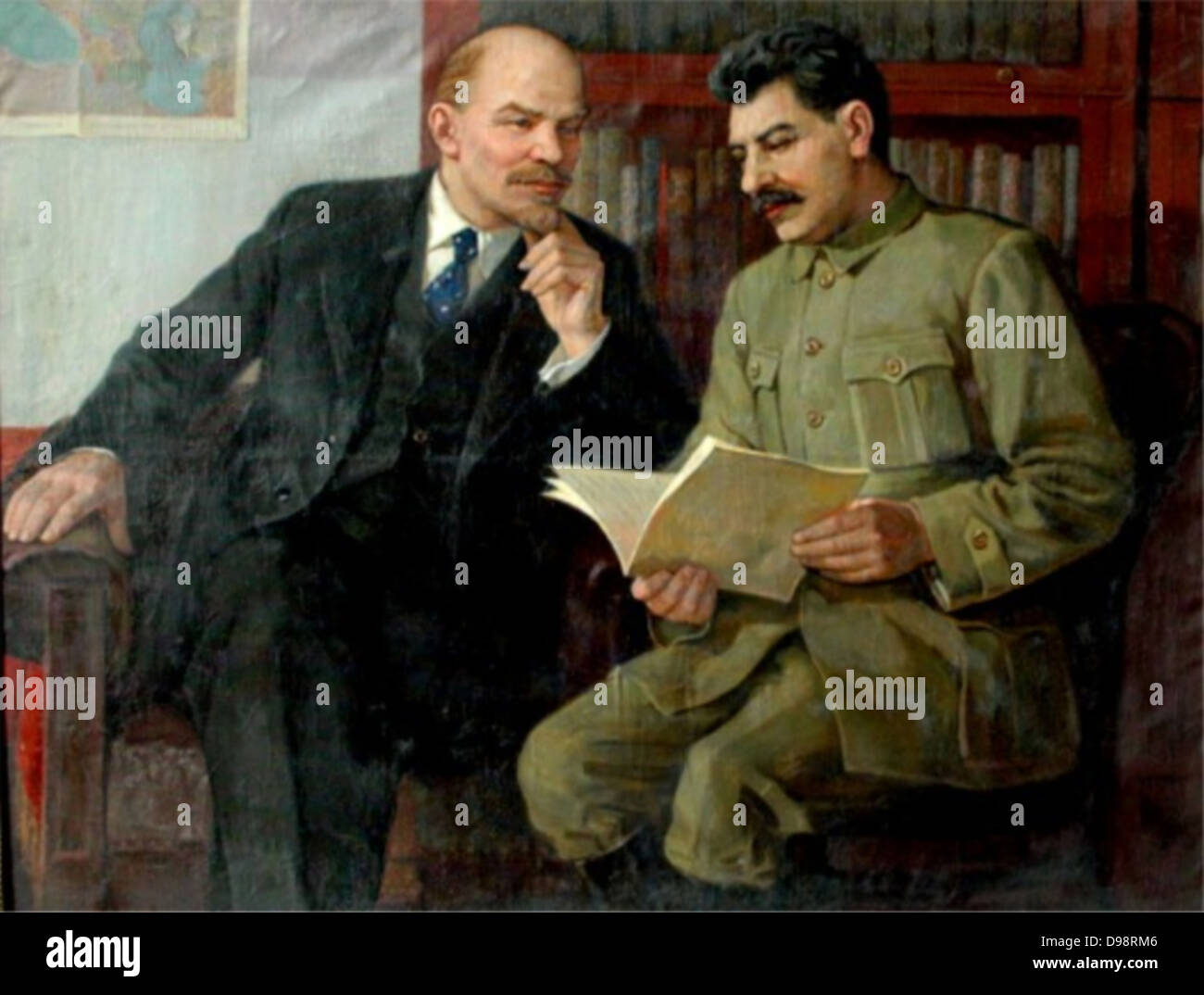 Vladimir Lenin and Joseph Stalin 1920-22 painted by vasilev - Stock Image