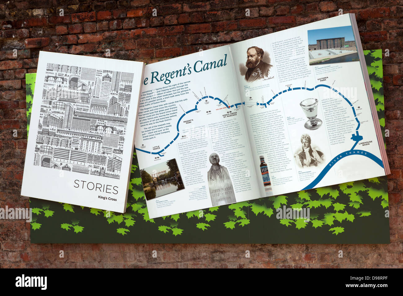 Artistic tourist map of the Regent's Canal showing points of interest along the way - Stock Image