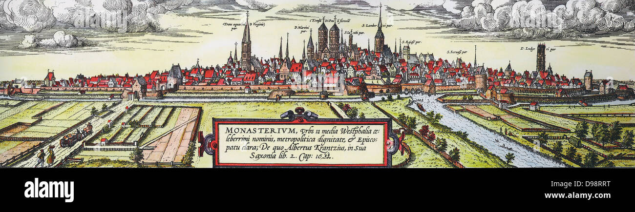 Panoramic view of the city of Munster, Germany, from the south-west, c1570. Twin towers in centre are St Paul's Stock Photo