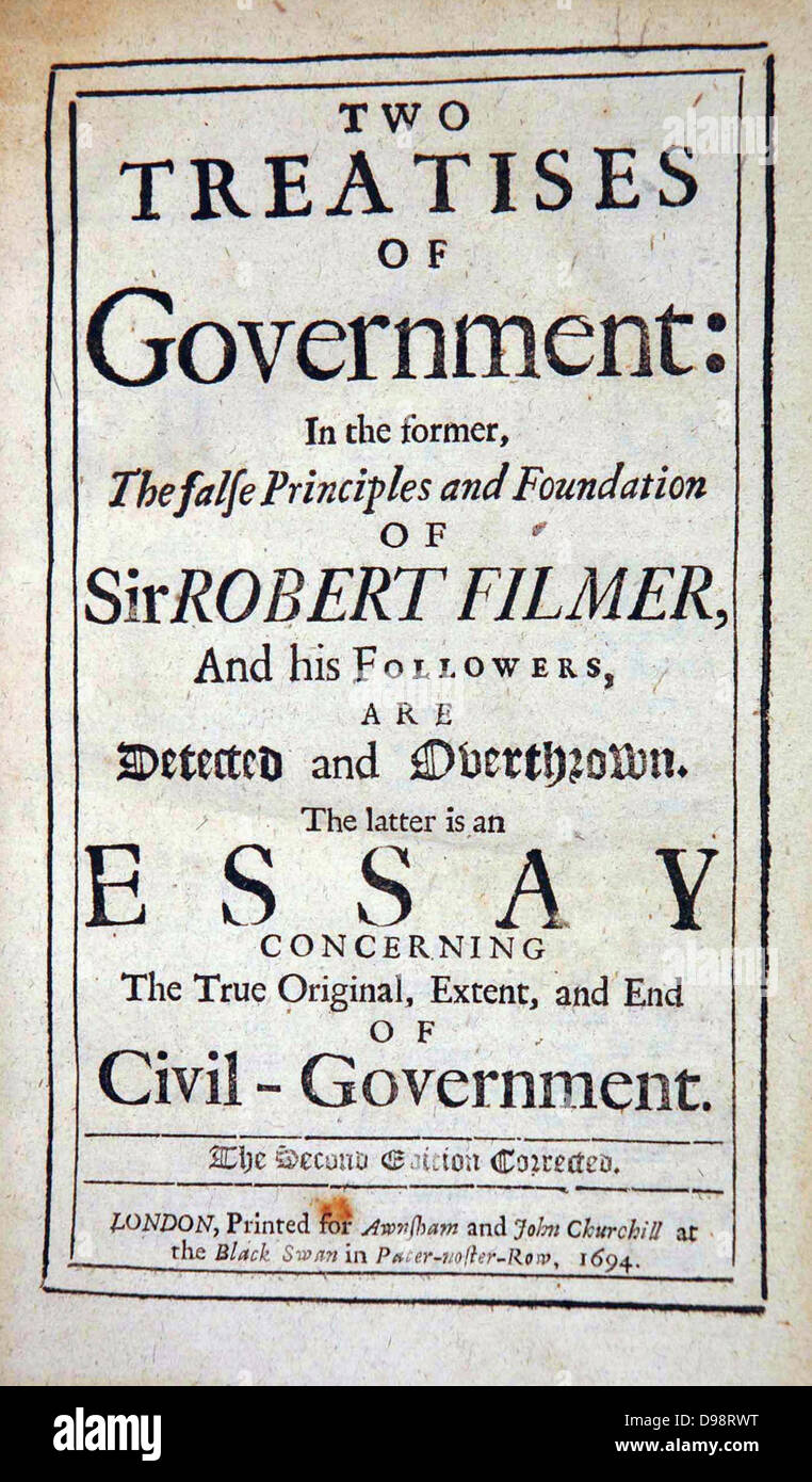 Title page 'Two Treatises of Government: ' John Locke, 2nd edition ...