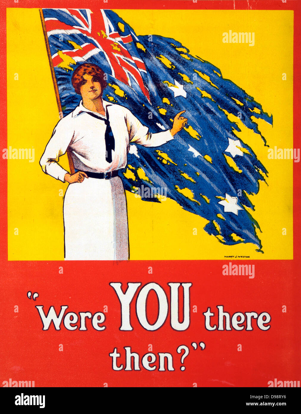World War I 1914-1918: 'Were YOU there then?' Poster, 1916. Woman stands in front of tattered Australian - Stock Image