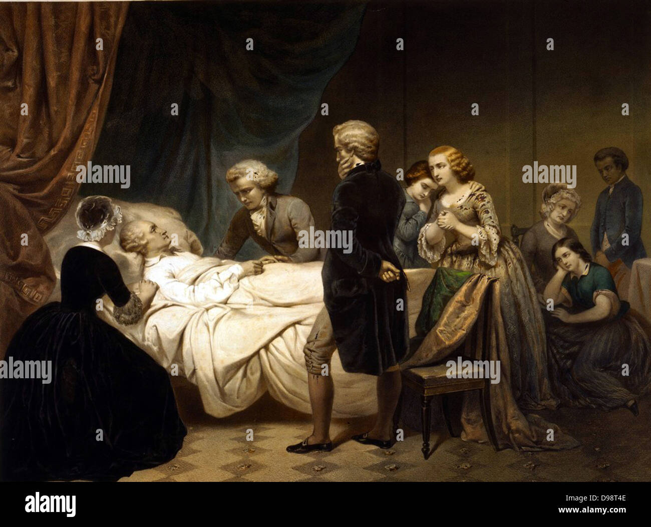 George Washington (1732-1799) lst President of the United States of America  (1789-1797). Washington on his deathbed at Mount