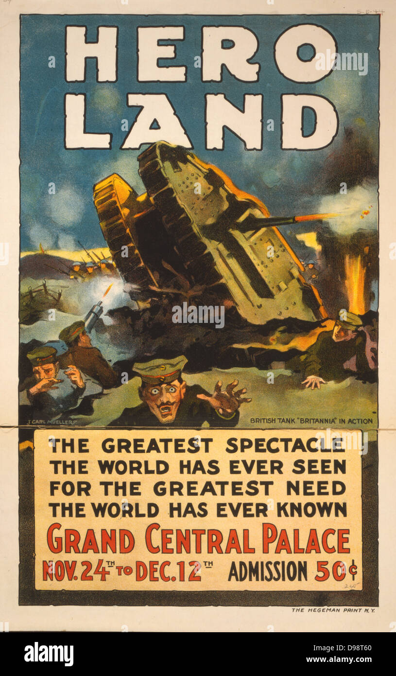 Poster for 'Hero Land' a spectacular entertainment based on the battlefields of World War I, Grand Central Palace, Stock Photo