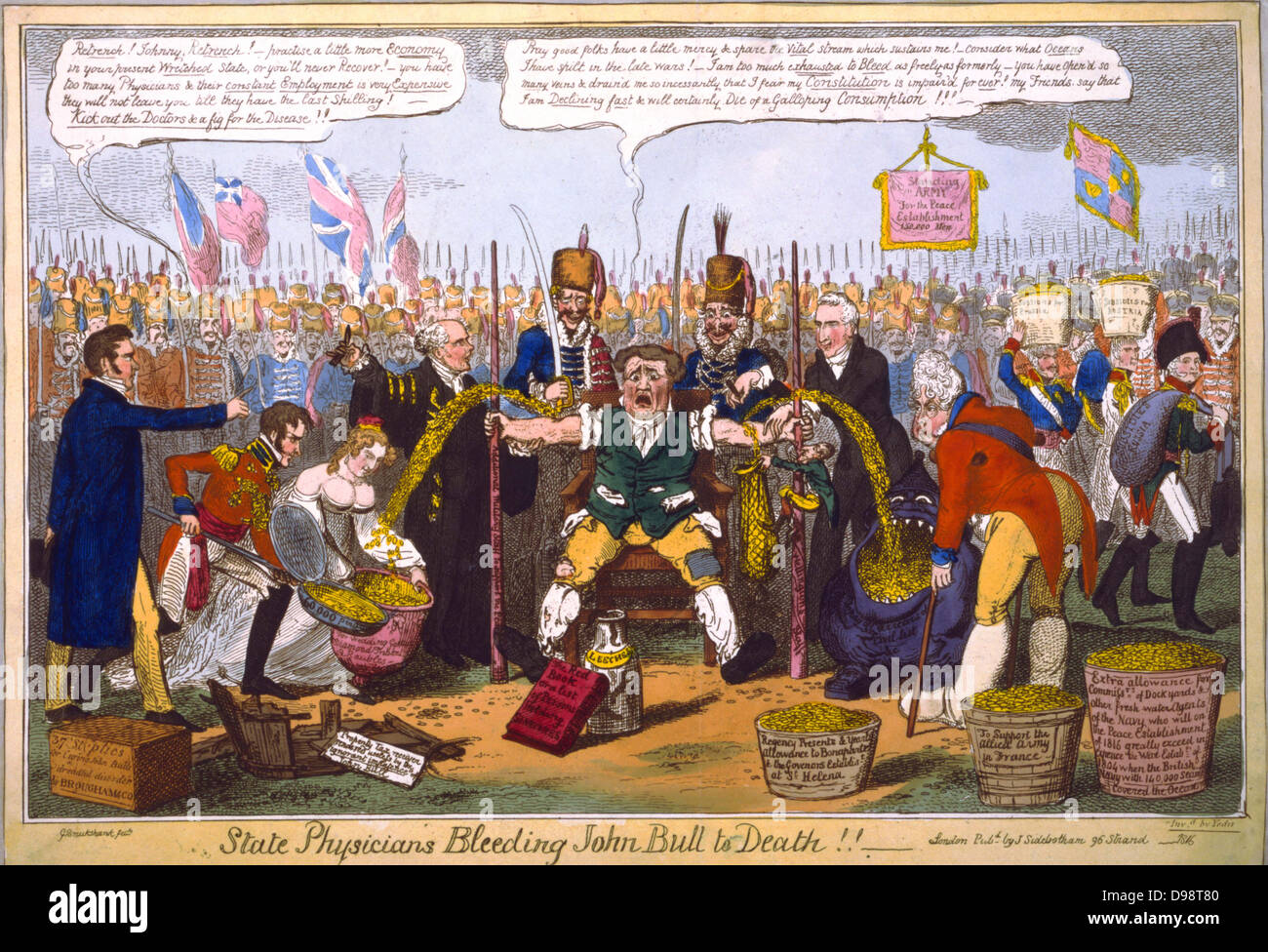 State Physicians Bleeding John Bull to Death!!, G Cruikshank cartoon 1816. From left: Lord Brougham, Prince Leopold - Stock Image