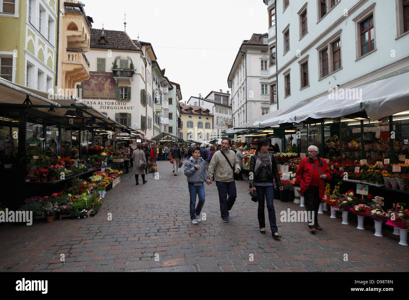 The street market in Bolzano,Italy Stock Photo