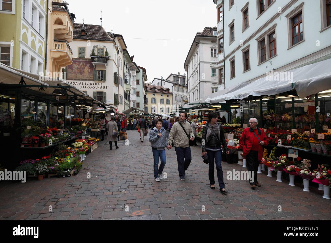 The street market in Bolzano,Italy - Stock Image