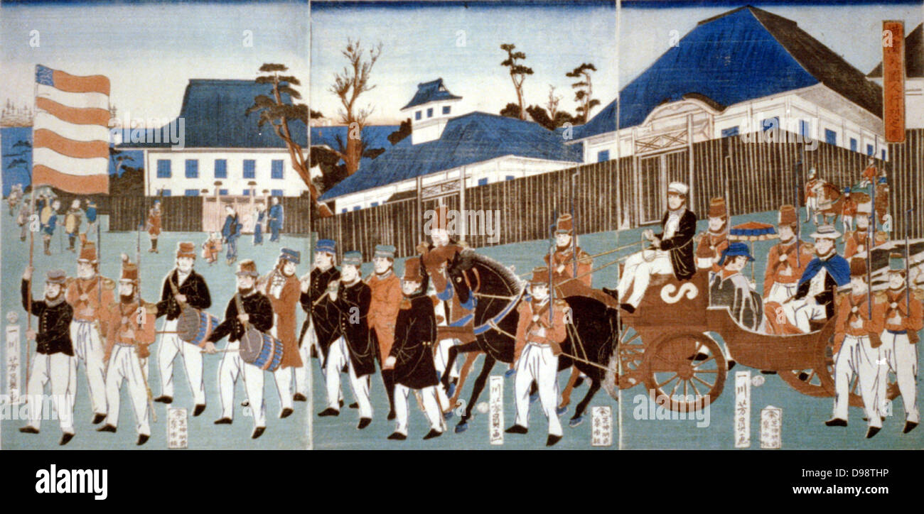 Triptych showing a parde of foreigners, Yokohama, in a horse-drawn open carriage and led by man carrying the stars - Stock Image