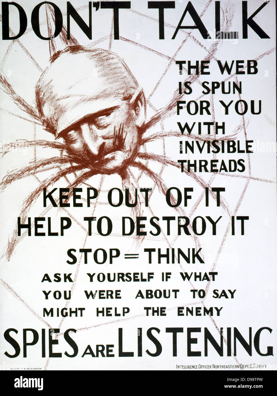 World War I 1914-1918: ' Don't talk, the web is spun for you with invisible threads, keep out of it, help - Stock Image