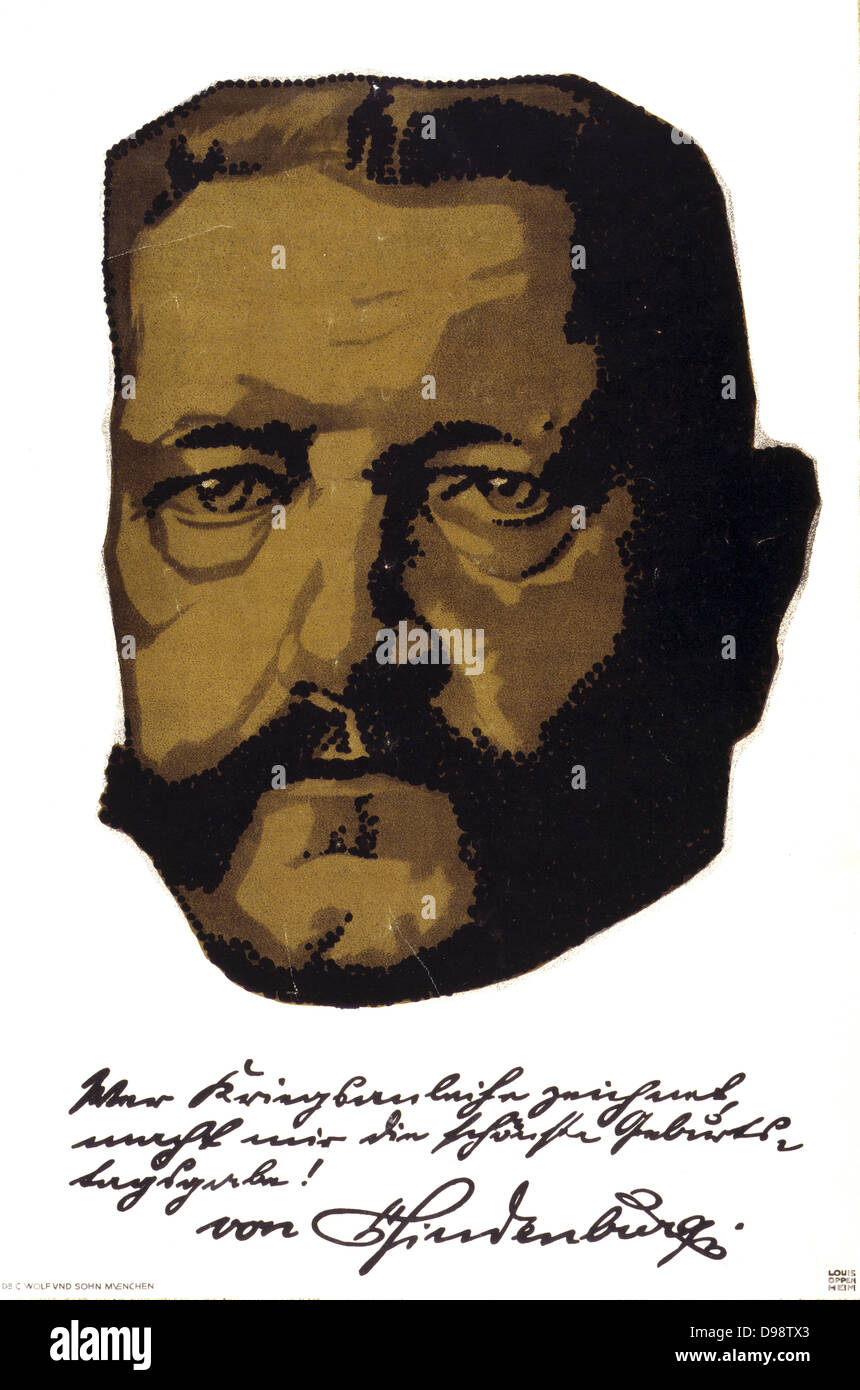 Poster, 1917, of General Field Marshall Paul von Hindenburg (1847-1934) German soldier and statesman, based on portrait - Stock Image