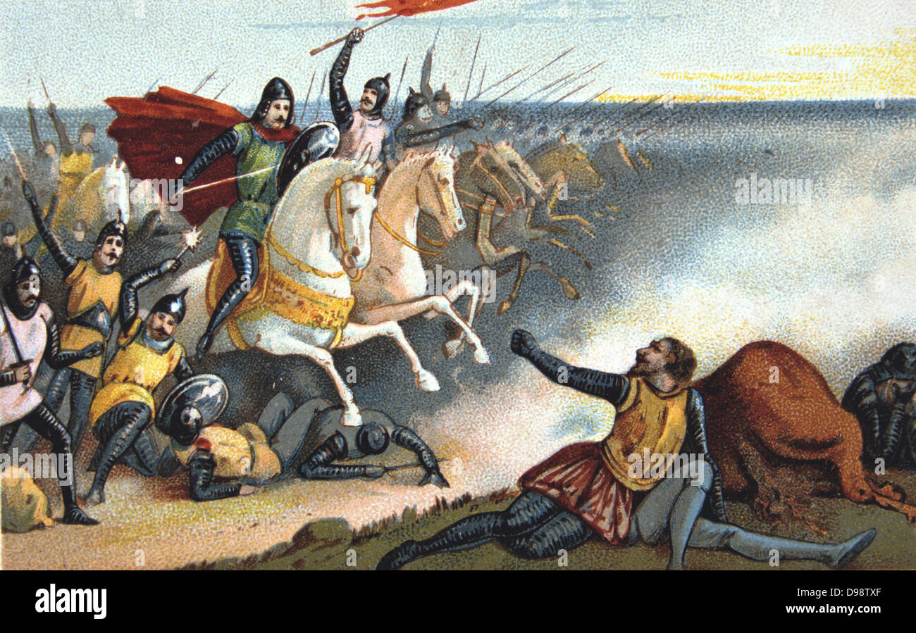 Battle of Hastings, 14 October 1066. William of Normandy (William the  Conqueror) defeating Harold II of England. Nineteenth