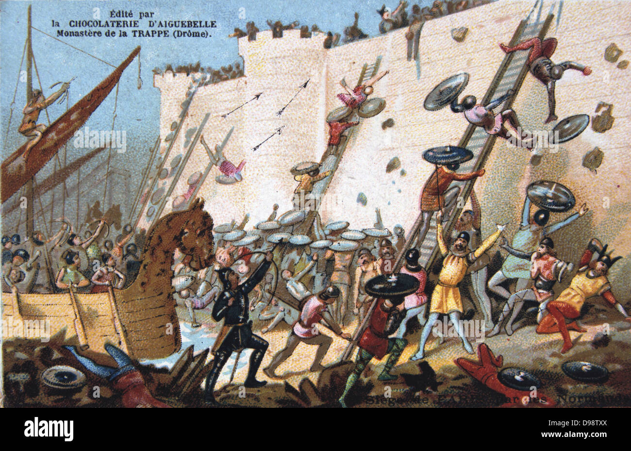 Siege of Paris 885-886 by the Vikings (Northmen). Considered by some to be the beginning of Norman power in France. - Stock Image