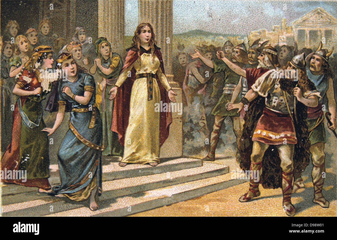 Saint Genevieve of Paris (c419/422-502/512), in her role as protector of the welfare of the city's virgins, confronting Stock Photo