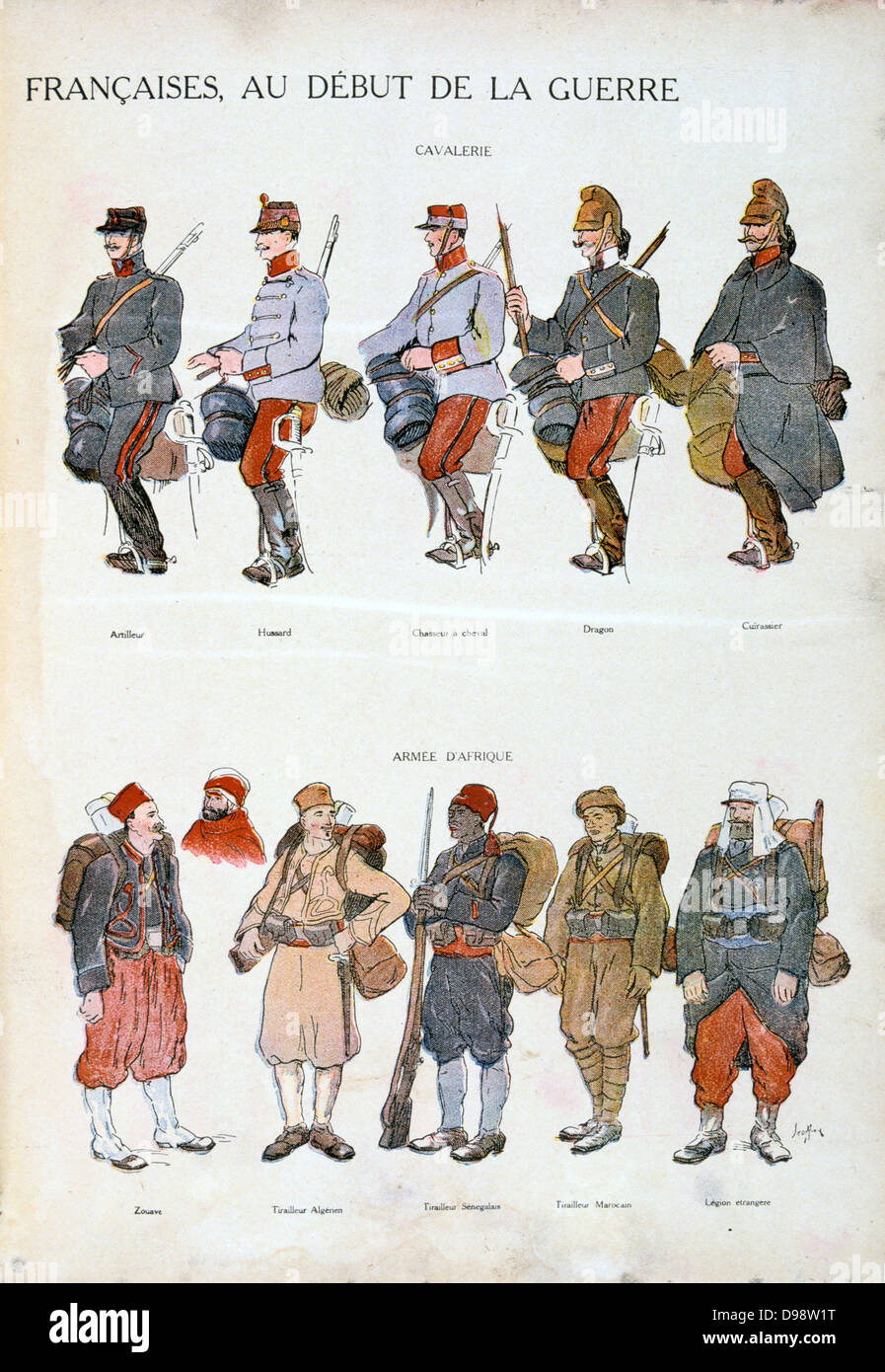 French military uniforms in World War I, 1914-1918. Top: Cavalry. Bottom: African forces. Coloured print - Stock Image