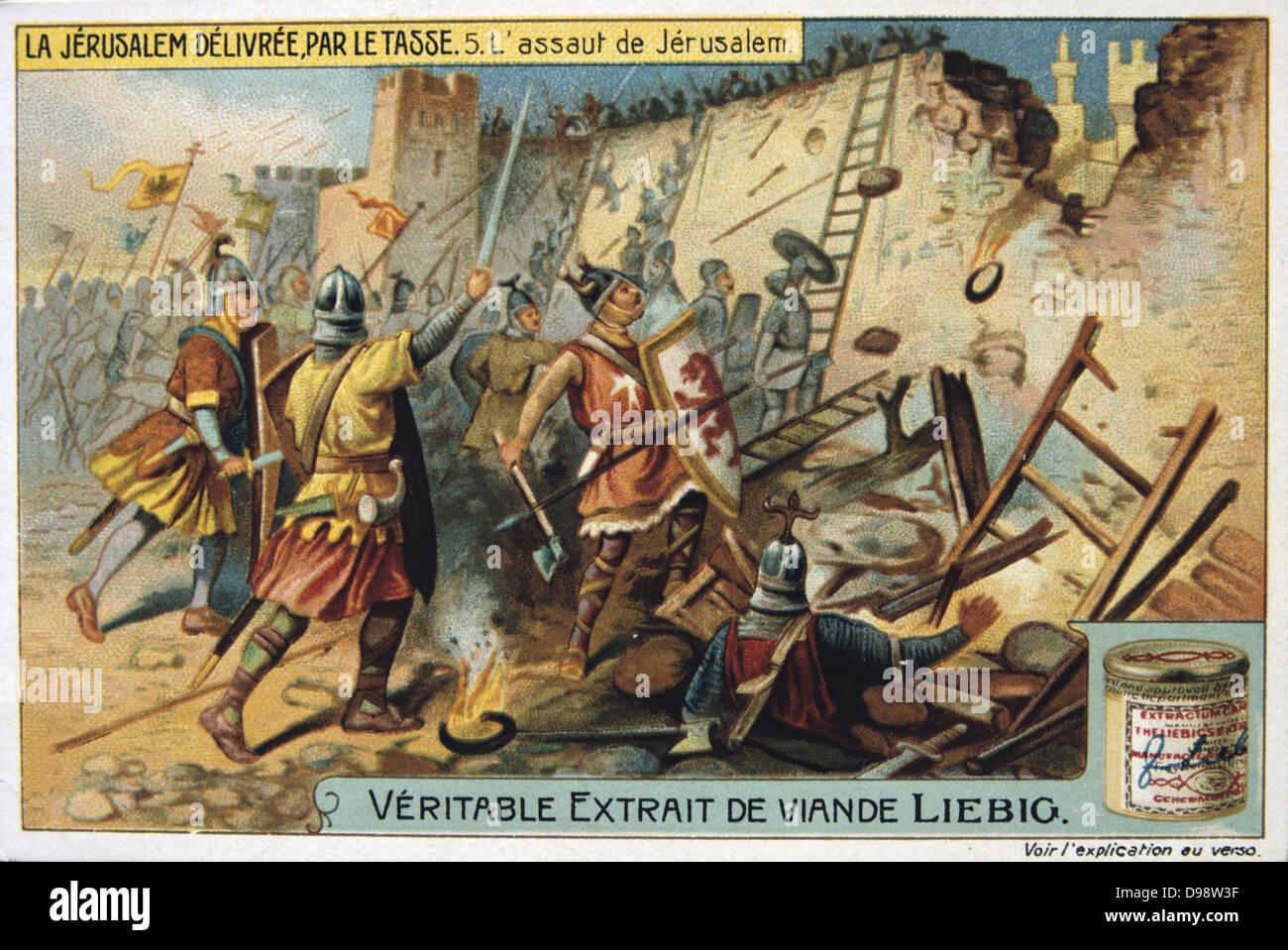 Jerusalem Delivered' (1580) epic poem by Torquato Tasso, Italian poet.  Fictionalised story of First Crusade 1095-1099.