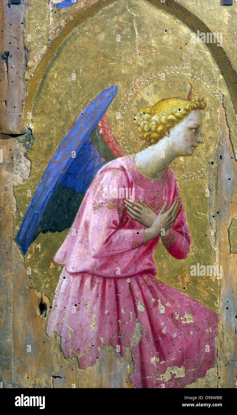 Angel in Adoration' painting on wood. studio of Fra Angelico (born Guido di Pietro (c1400-c1455) Italian Renaissance. - Stock Image