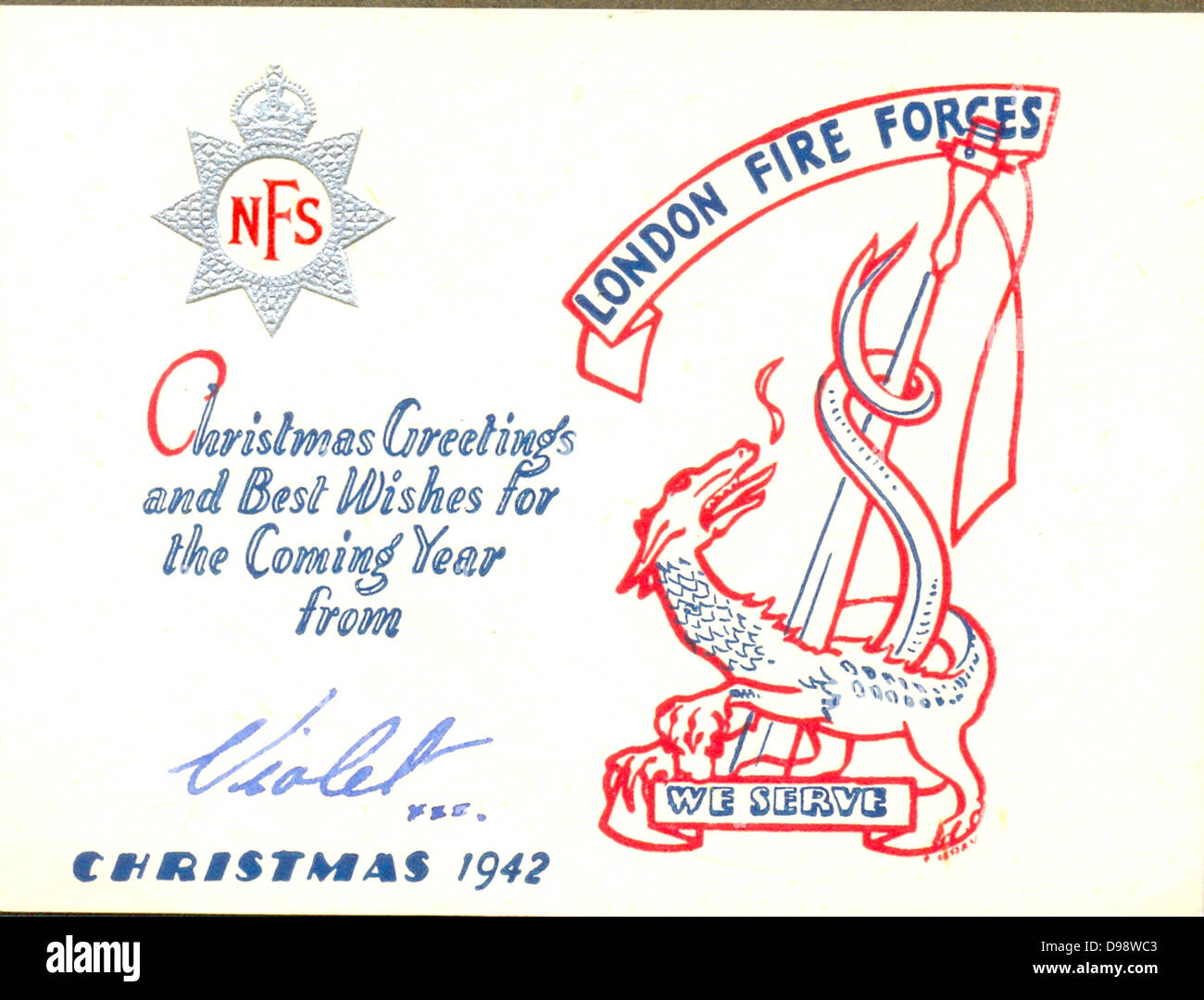 World War Two Christmas greeting card from the London Fire Forces - Stock Image