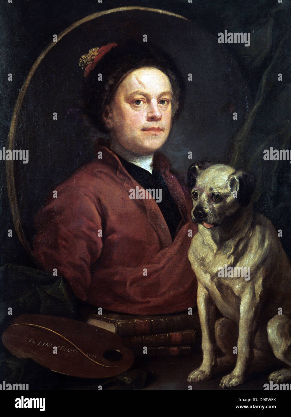 The Artist and his Dog' 1745. Wiliam Hogarth (1697-1764) English painter, printmaker, cartoonist. Self-Portrait - Stock Image