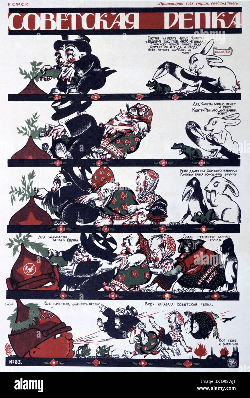 A Soviet Ripka', 1920. Ripka (Turnip) - anti-capitalist allegory on a Russian folk tale. Soviet propaganda poster - Stock Image