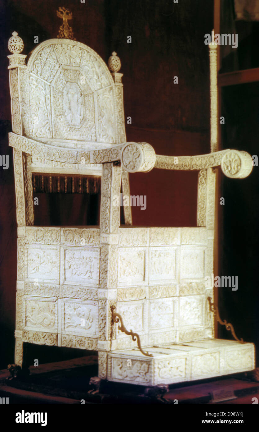 Ivory throne of Ivan the Terrible. Ivan IV Vasilyevich (1530-1584) Tsar of Russia from 1533/4. - Stock Image