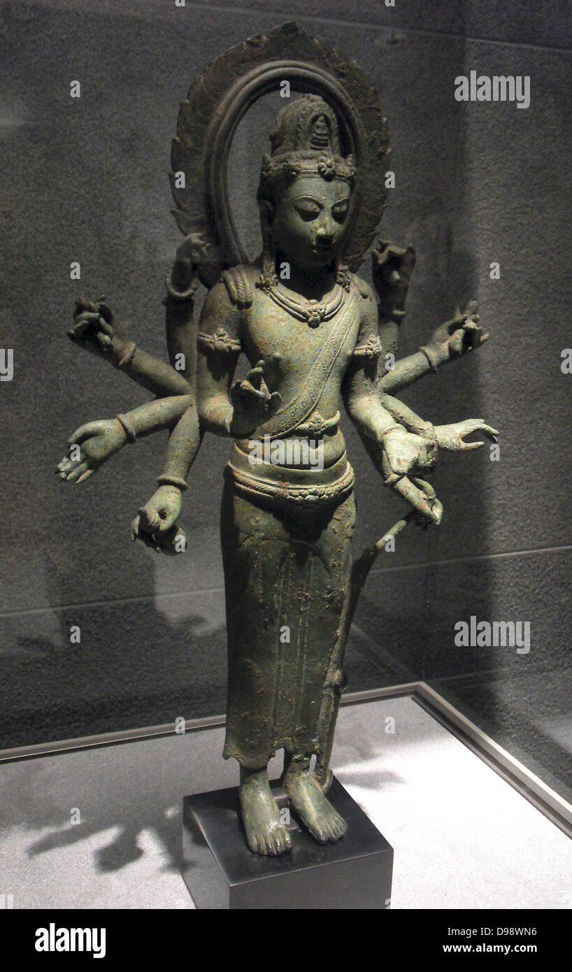 Avalokitesvara with ten arms. The statue marked the face of great inner represents Avalokiteshvara, identifiable Stock Photo