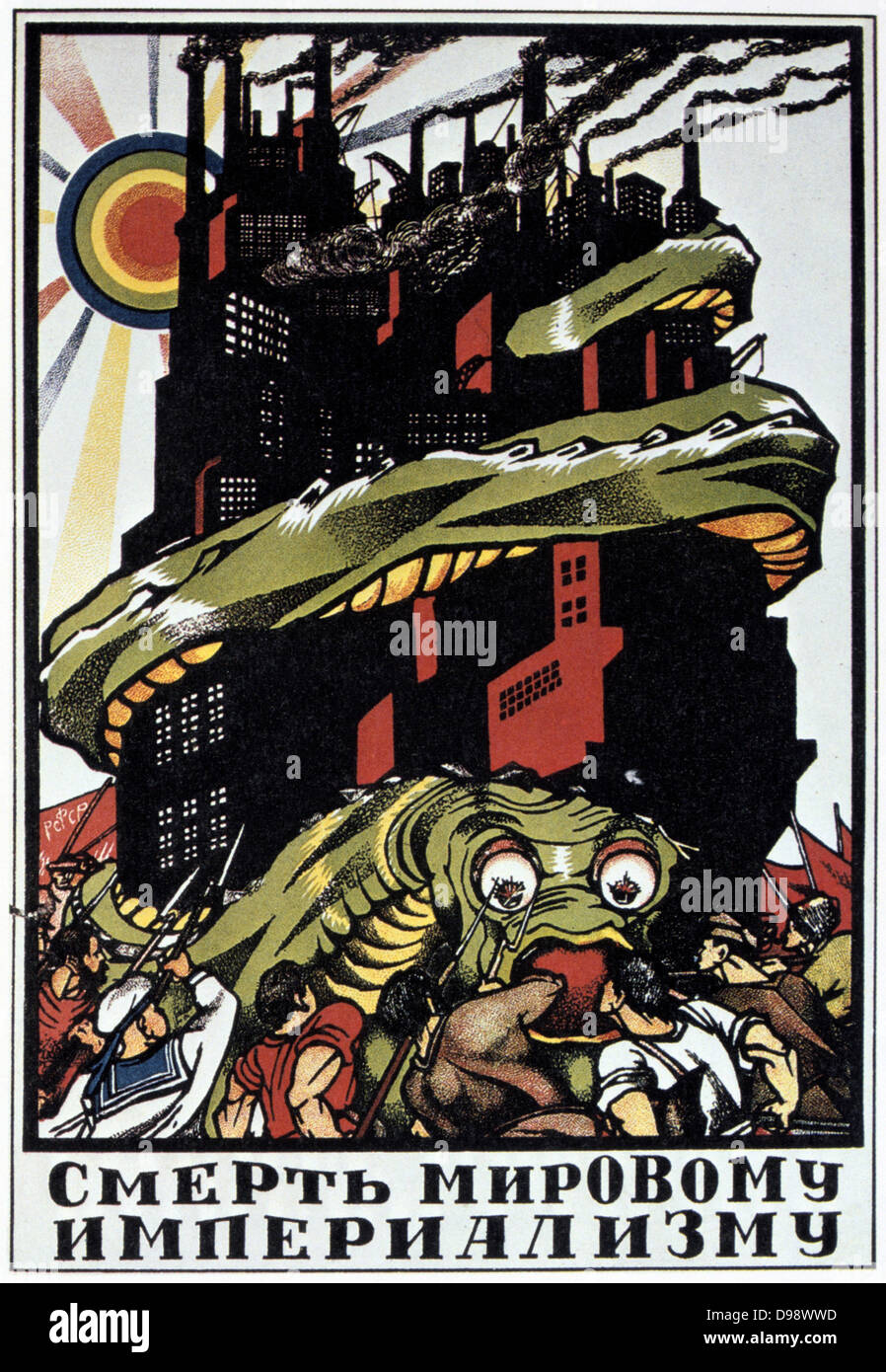 Death to the World Imperialist Monster', 1919. Soviet propaganda poster by Dmitry Moor (Orlov). Russia USSR - Stock Image