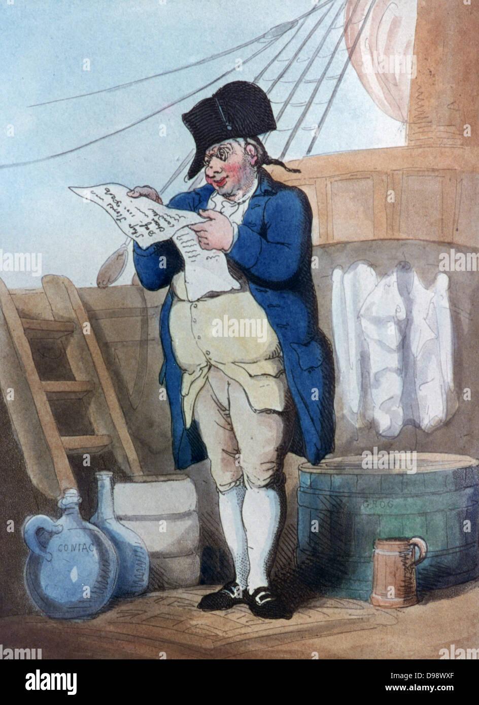 The Purser, 1799. Print by Thomas Rowlandson (1756-1827). Aquatint. - Stock Image