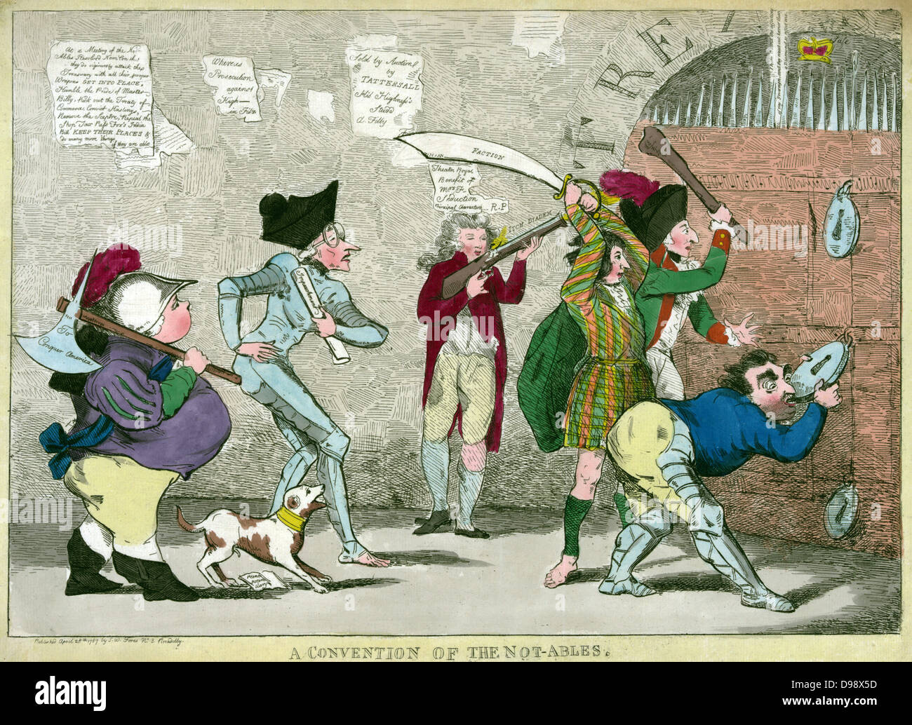 'A convention of the not-ables' Print shows Lord North, Edmund Burke, Charles Fox, the Prince of Wales, - Stock Image