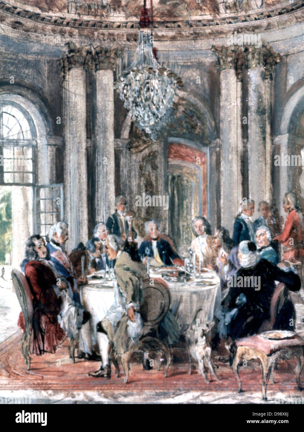 Study for 'Die Tafelrunde' ('Reunion at the Palace of Sanssouc'i or Voltiare at the Court of Frederick - Stock Image
