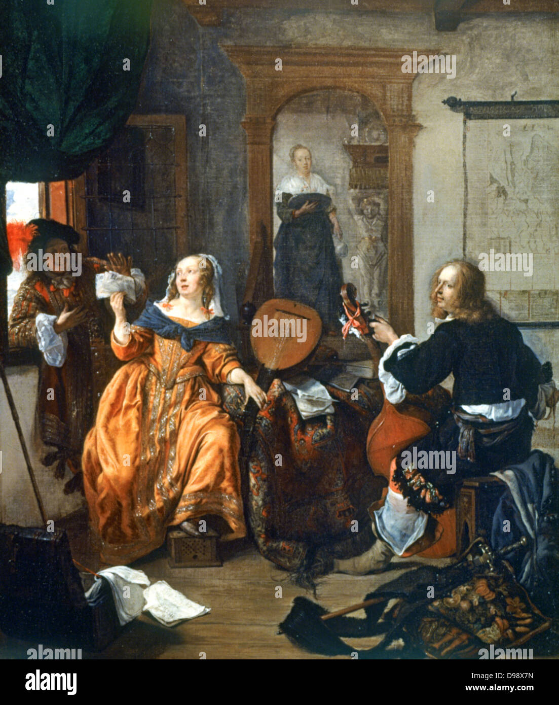 A Music Party', 1659. Gabriel Metsu (1629-1667) Dutch painter. Dutch  interior with woman with lute showing music to man on