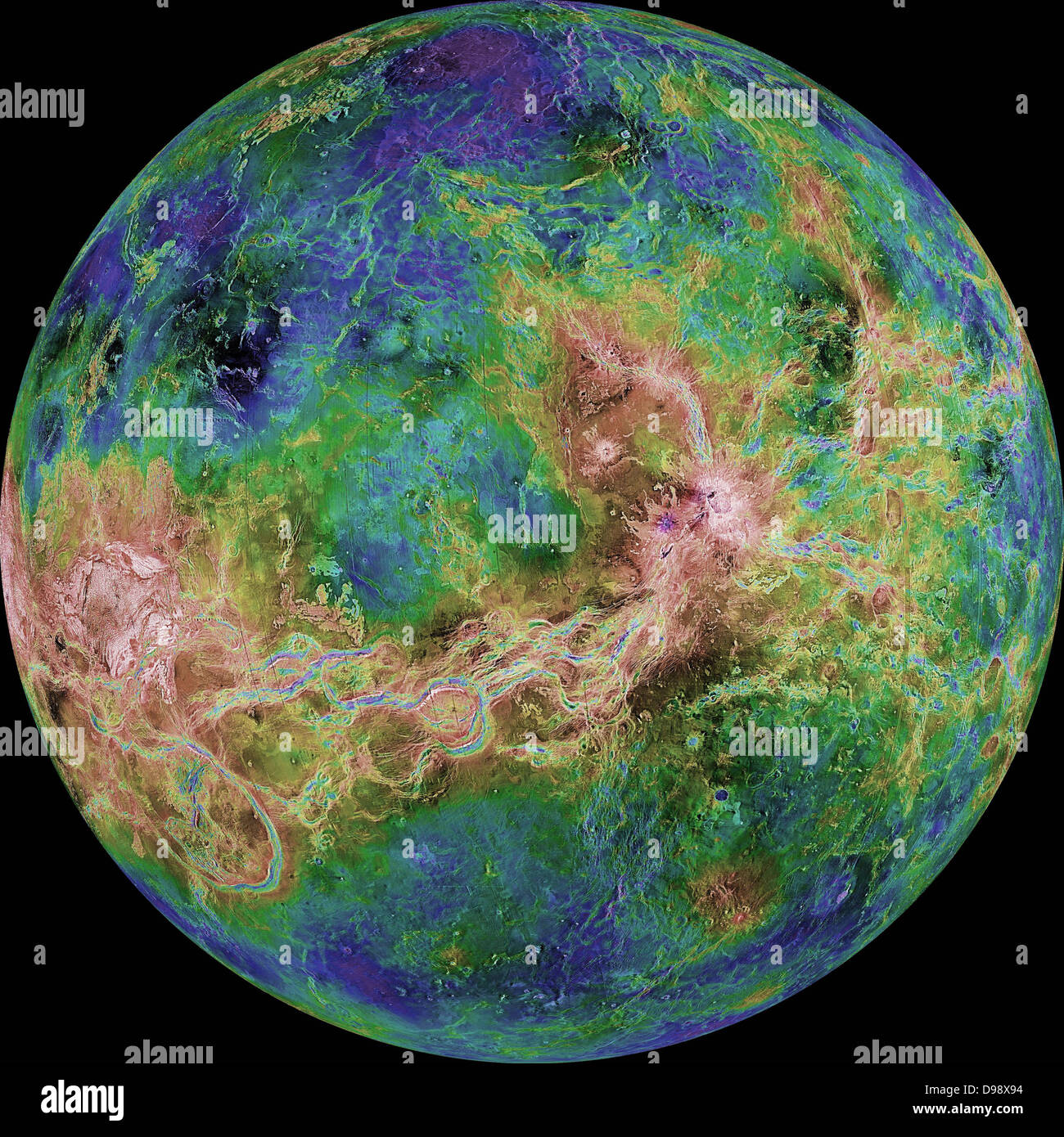 The hemispheric view of Venus, as revealed by more than a decade of radar investigations culminating in the 1990 - Stock Image