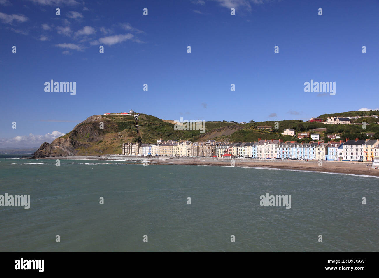 View of Aberystwyth beach, promenade and Constitution Hill with its funicular railway - Stock Image