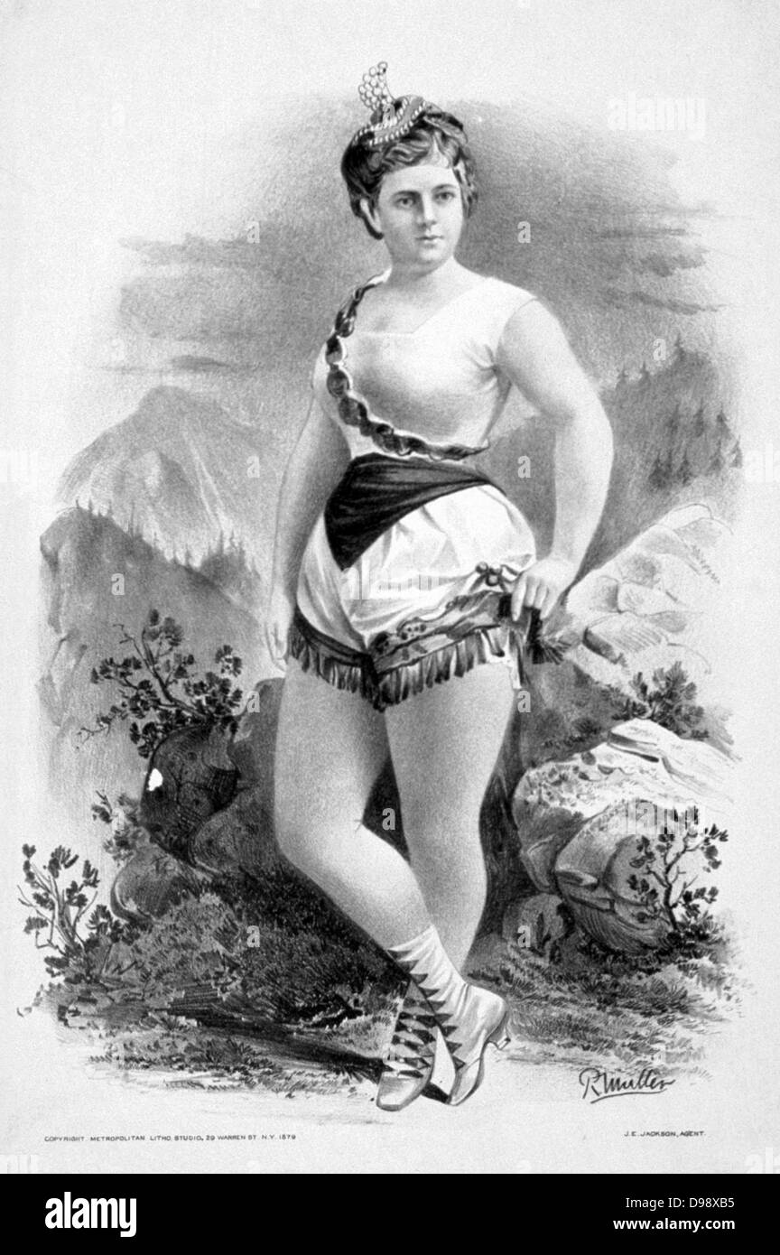 Woman in burlesque costume in front of rocky outcrops c1879.  (poster) : lithograph showing a Burlesque show. - Stock Image