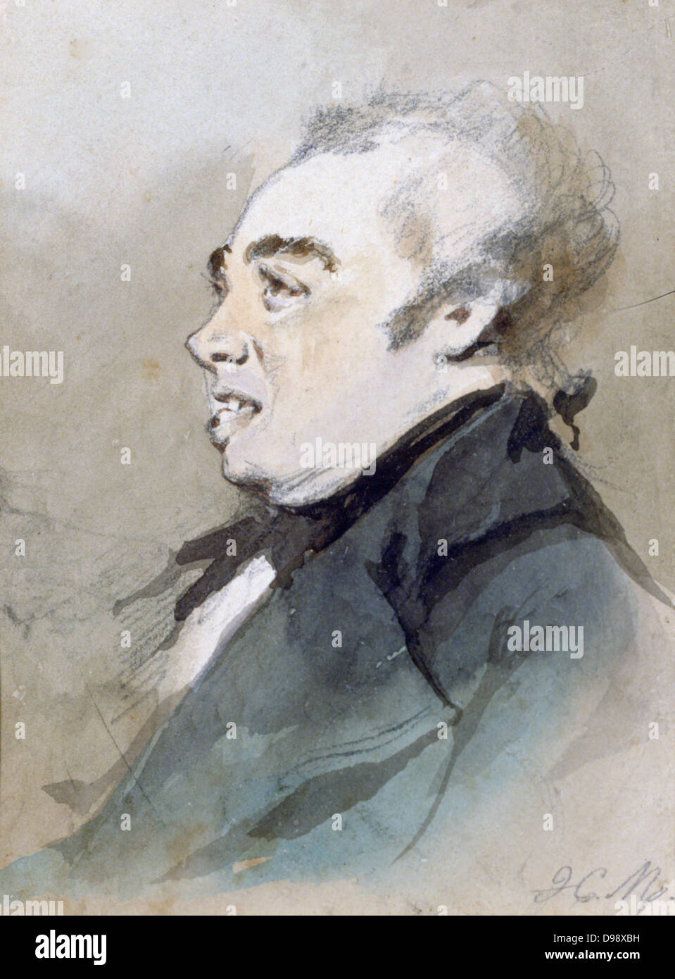 Portrait of Joseph Prudhomme'. Watercolour by Henri Monnier (1805-1877) French cartoonist. The Prudhommes were - Stock Image