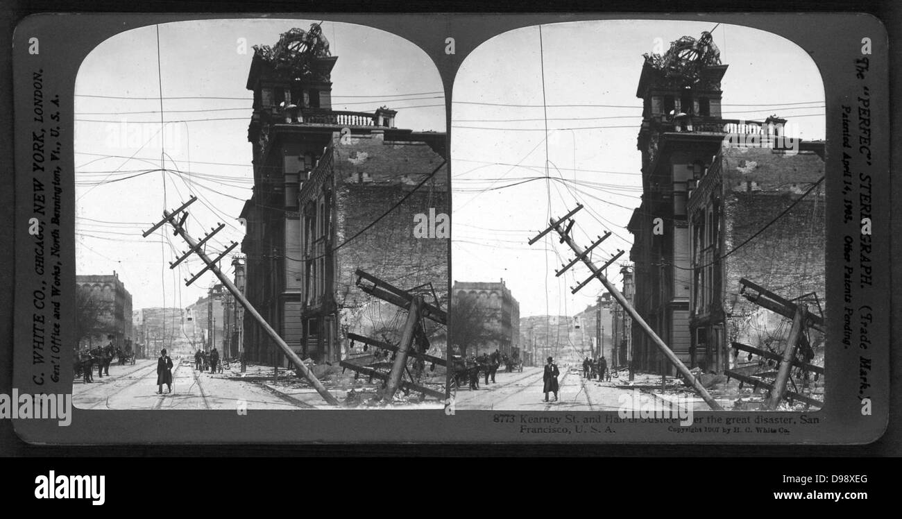 Kearney St. and Hall of Justice after the great disaster, San Francisco, U.S.A.  c1907. photographic print on stereo - Stock Image